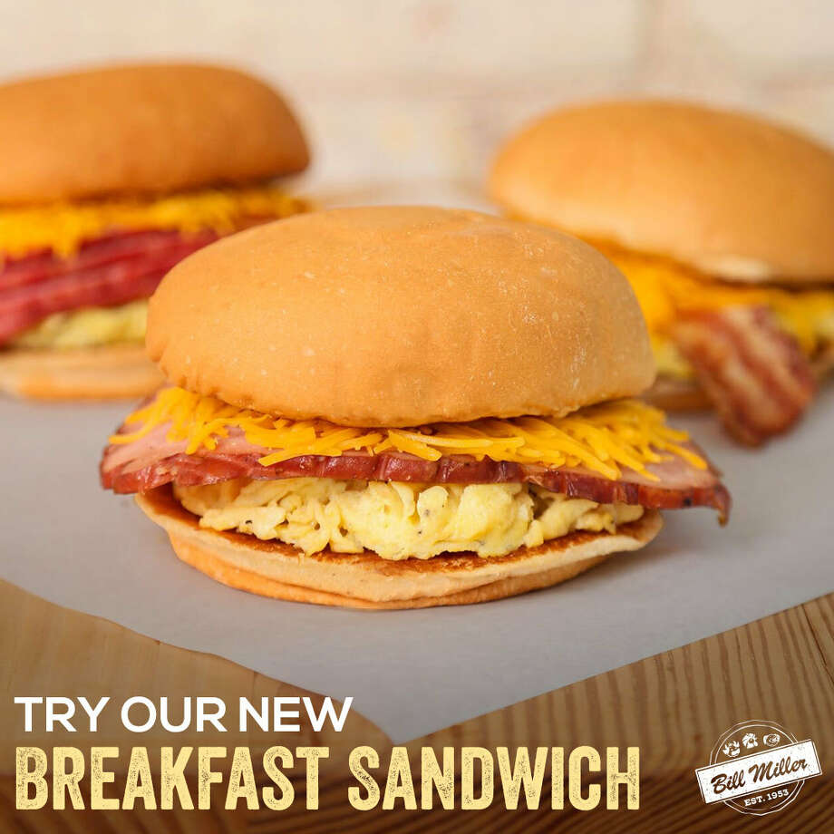 A breakfast sandwich debuted Monday morning at all locations for $3.50. The sandwich comes with egg, cheese and a customer's choice of either ham, bacon or sausage between two buns. Photo: Courtesy, Sweb