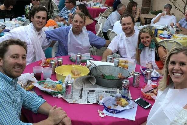 Beach Ball Blast:  Austin and Taylor Wallace, from left, Matt Guisinger, Steven Hofer, Andrew and Jessica Rensimer, Michelle Hofer, and Alex Guisinger