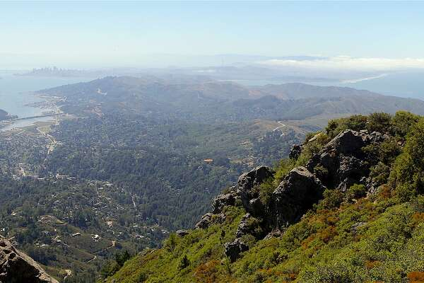 From the summit of Mount Tamalpais, looking south across the Marin Headlands to San Francisco, the Bay on one side, the ocean on the other