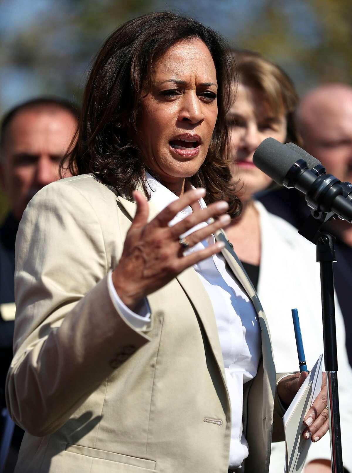 Senator Kamala Harris addresses the media before a Sonoma County Fire Response and Recovery community meeting at Santa Rosa High School in Santa Rosa, Calif., on Saturday, October 14, 2017.