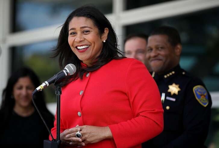 SAN FRANCISCO, CA - JULY 12:  San Francisco mayor London Breed speaks to reporters after meeting with first responders during an emergency preparedness meeting on July 12, 2018 in San Francisco, California. A day after she was sworn in as the first black woman to be elected mayor of San Francisco, London Breed met with first responders to discuss emergency preparedness in San Francisco.  (Photo by Justin Sullivan/Getty Images)