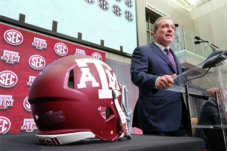 Texas A&M head coach Jimbo Fisher holds his SEC Media Days press conference at the College Football Hall of Fame on Monday, July 16, 2018 in Atlanta, Ga.