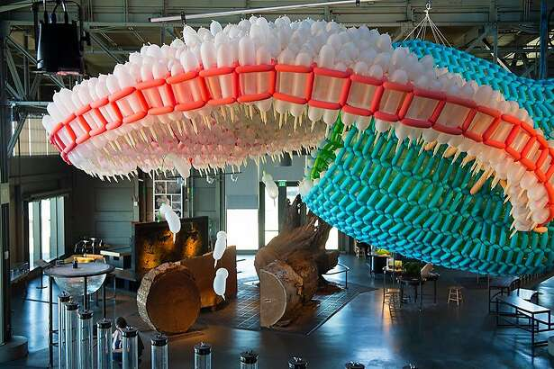 The new Exploratorium exhibit Inflatables has many interactive exhibits that combine science and art.