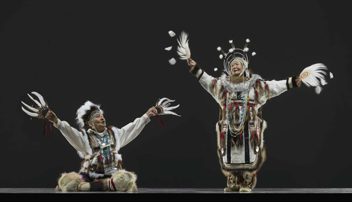 Chuna McIntyre (left) and Josephine Aloralrea of Nunamta Yup'ik Eskimo Singers and Dancers.