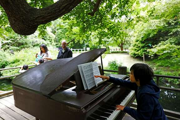 Sebastian Poncin, 10, performs selections by Johann Sebastian Bach and Wolfgang Mozart in the Moon Viewing Garden at the San Francisco Botanic Garden in San Francisco, California on Thursday, July 5, 2018. Poncin is a piano student at Lyc�e Francais de San Francisco. A dozen pianos are currently scattered around the grounds as part of the annual Flower Piano event running from now through July 16.