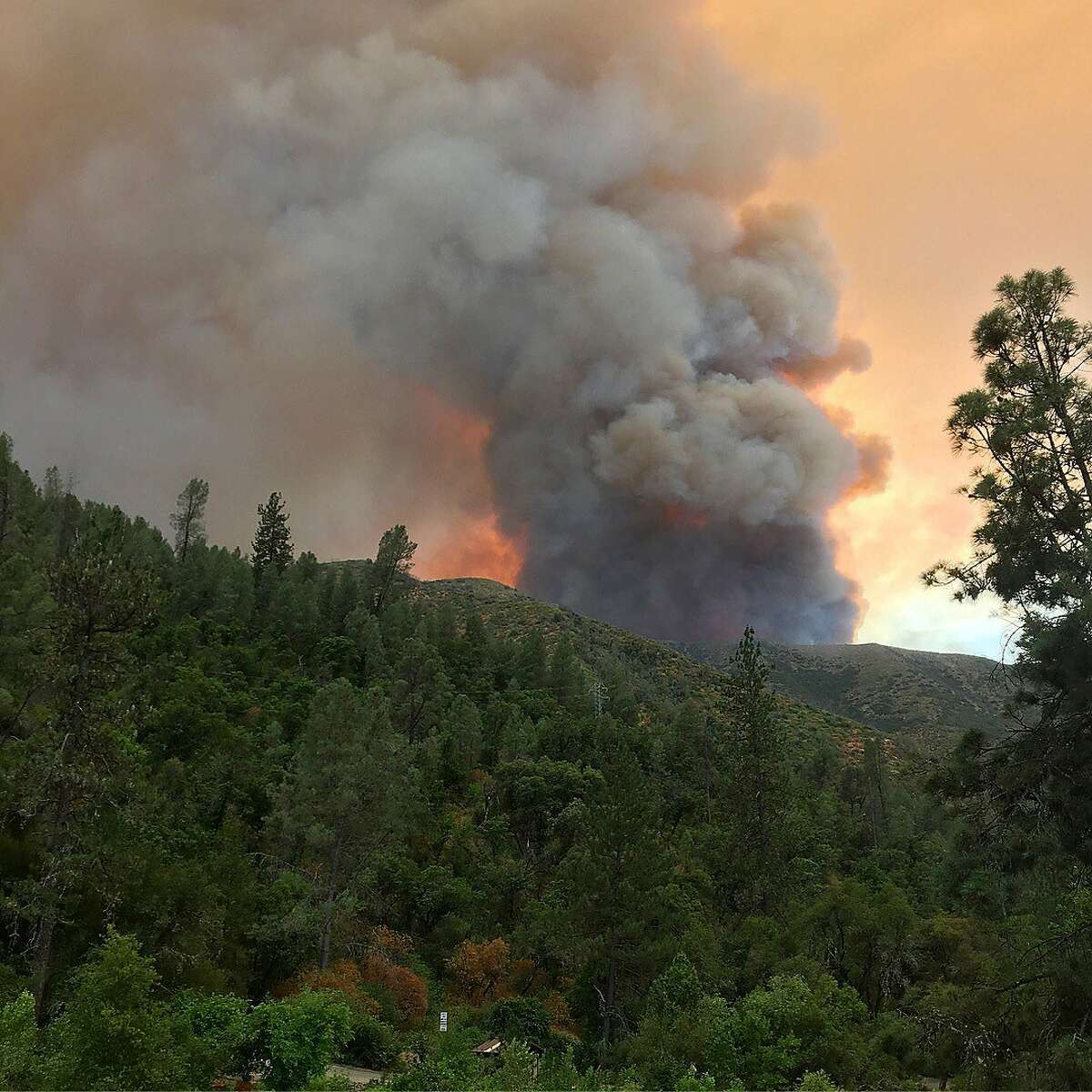 The Ferguson Fire burns near Yosemite National Park on Sunday, July 15, 2018, as seen from El Portal, Calif. (Carrie Anderson via AP)