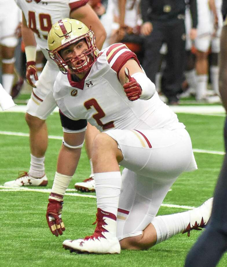 New Canaan's Zach Allen, a senior defensive end at Boston College, was named to the Bednarik Award watch list on Monday. Photo: John Nash / Hearst Connecticut Media File Photo / Stamford Advocate Contributed