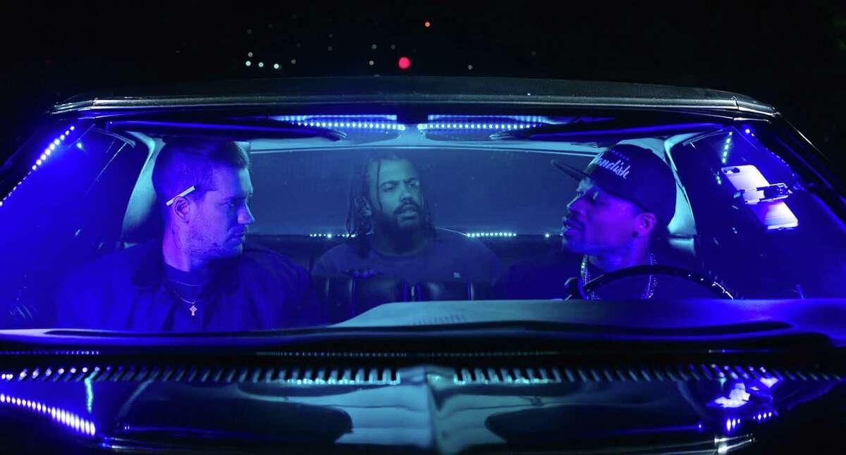 "Rafael Casal (left), Daveed Diggs and Jon Chaffin in ""Blindspotting."""