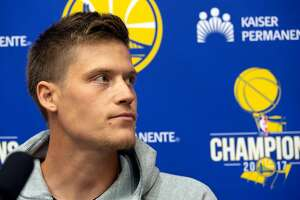 Jonas Jerebko, the Golden State Warriors recently acquired free agent center, speaks to the media during an introductory press conference at team headquarters, Monday, July 16, 2018 in Oakland, Calif.