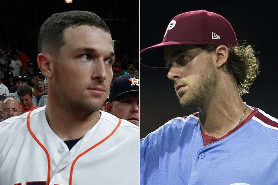 Once roommates at LSU, the Astros' Alex Bregman (left) and Phillies' Aaron Nola (right) are both first-time All-Stars this year in Washington. Photo: Houston Chronicle File And Wire Services