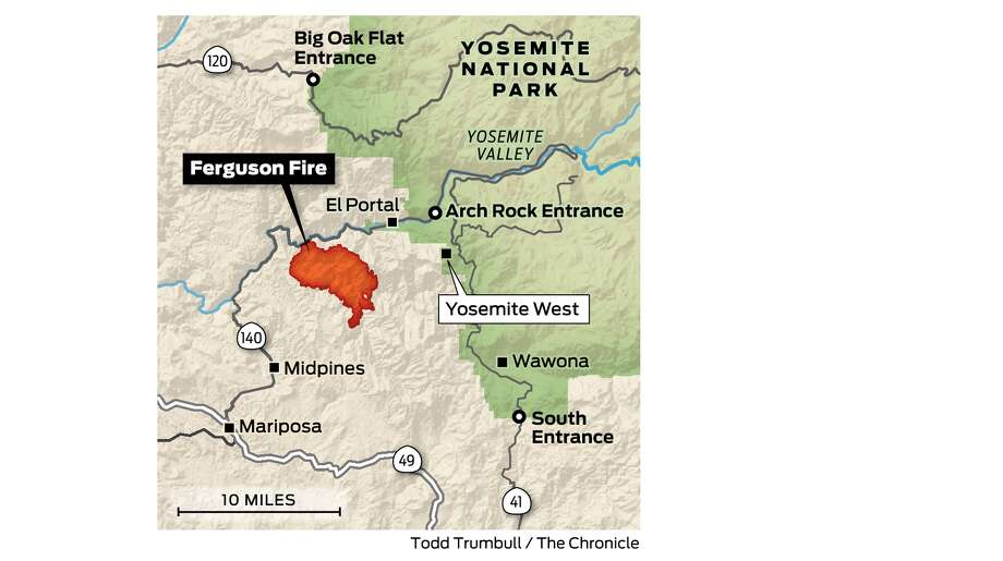 Fire Map Yosemite.Ferguson Fire Doubles In Size Yet To Reach Yosemite National Park
