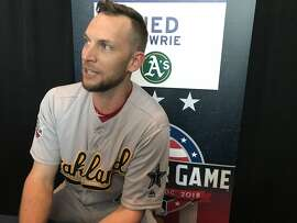 Jed Lowrie of the Oakland Athletics at Nationals Park in Washington, D.C., on July 16, 2018, for the All-Star Game.