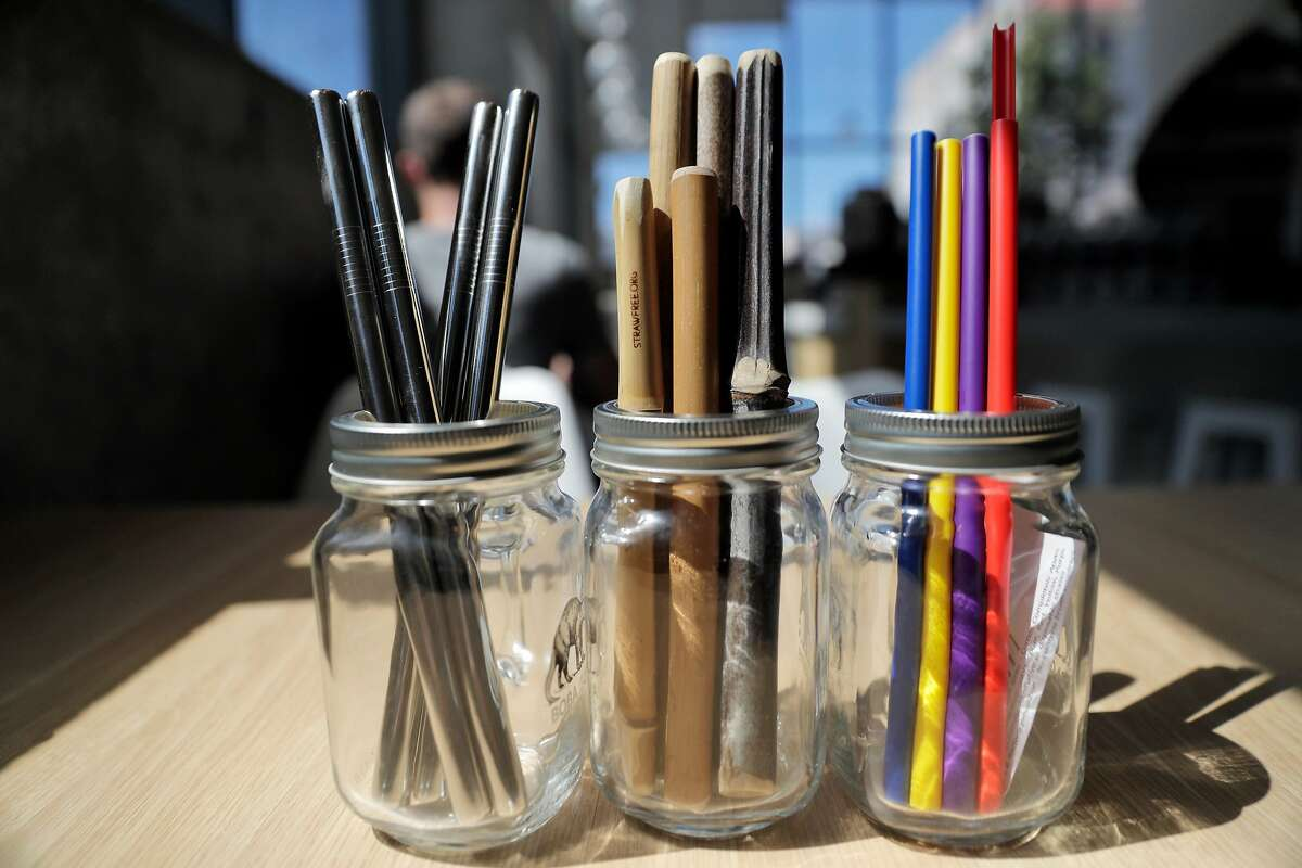 Alternative straws, (l-r) metal, bamboo, and reusable plastic, being tested at the Boba Guys store in San Francisco , Calif., on Monday, July 16, 2018. Board of Supervisors votes tomorrow on a plastic-straw ban that would go into effect at the end of July. It may have a large impact on the city's hundreds of shops and restaurants that serve bubble tea, because there are so few alternatives to the fat plastic straws essential to drinking the beverage. Boba Guys has done a ton of research on alternatives.