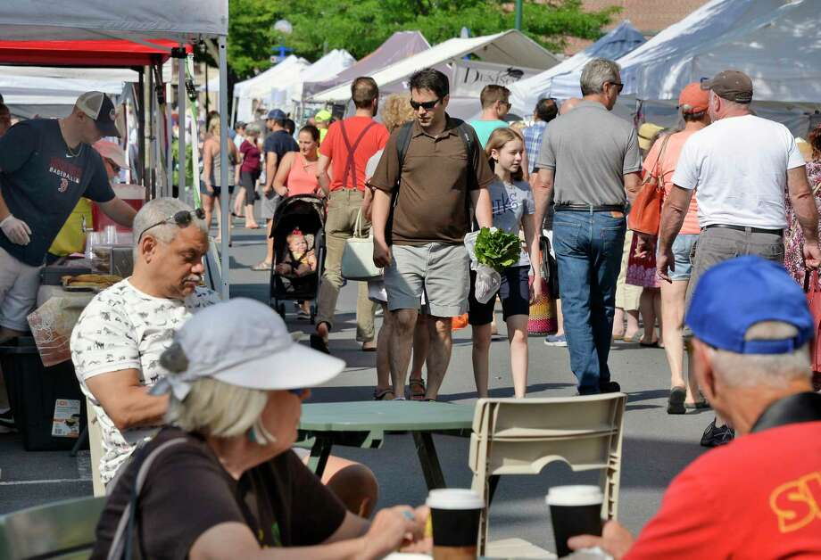 Crowds fill River Street for the Troy Farmer's and Maker's Markets Saturday June 30, 2018 in Troy, NY.  (John Carl D'Annibale/Times Union) Photo: John Carl D'Annibale / 20044219A