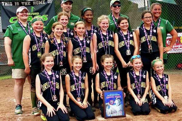 The New Milford Chaos 10-year-old softball team following its victory in the Babe Ruth New England tournament on Sunday. Pictured are, from left, (front row) Colleen Shields, Elena Stein, Kelsey Blom, Alana Beatty and Lauren Carlson; (middle row) Cienna McNamara, Regan Williams, Clare Moore, Lia Manka, Nea Plisko, Regan O'Loughlin, Taylor Classey and Ava Kopp; and (back row) coach Suzanne deBary, coach Rob Williams, coach Joe Beatty and manager Michelle McNamara.