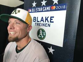Oakland Athletics closer Blake Treinen on July 16, 2018, at Nationals Park in Washington, D.C., site of the All-Star Game.