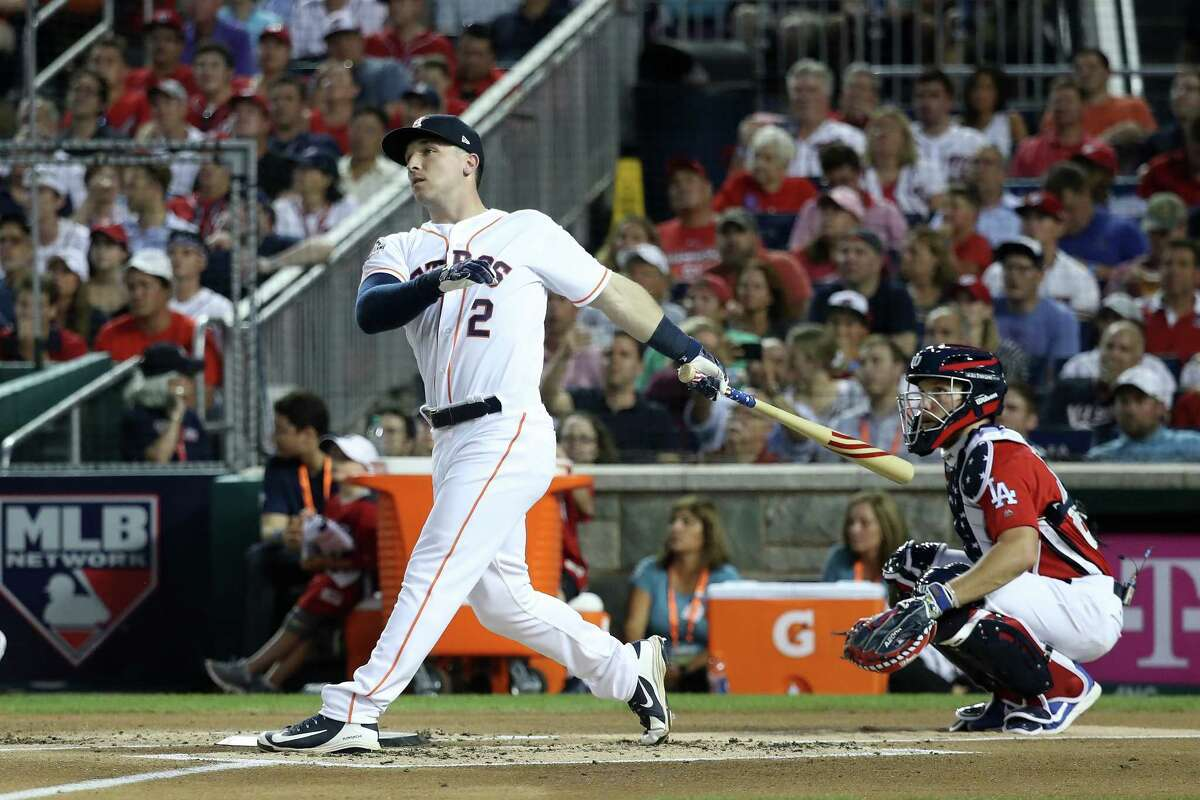 PHOTOS: More of Alex Bregman at the Home Run Derby WASHINGTON, DC - JULY 16: Alex Bregman of the Houston Astros and American League competes in the first round during the T-Mobile Home Run Derby at Nationals Park on July 16, 2018 in Washington, DC.