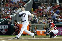 WASHINGTON, DC - JULY 16:  Alex Bregman of the Houston Astros and American League competes in the first round during the T-Mobile Home Run Derby at Nationals Park on July 16, 2018 in Washington, DC.