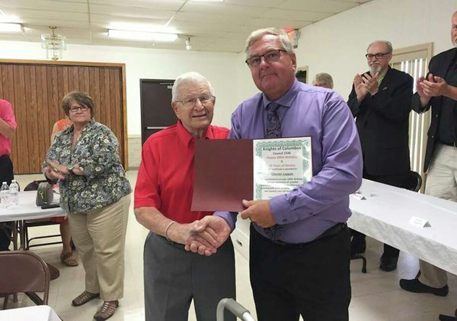 A special Certificate of Appreciation was given to member Chester Leppek for his recent 100th birthday and his 58 years of service with the council. (Submitted Photo)