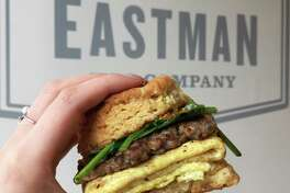 The S.M.S. breakfast biscuit is a popular item at The Eastman Egg Company in Chicago's West Loop.