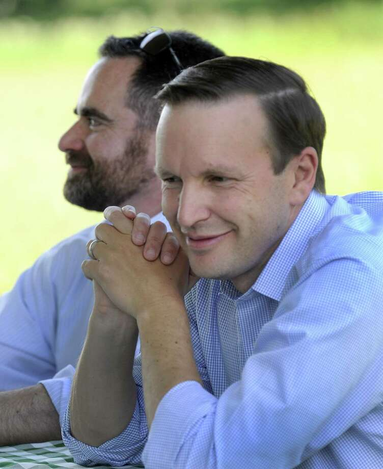 U.S. Senator Chris Murphy (right) and Robert Klee, state Department of Energy and Environmental Protection commissioner, (right) were in Kent Friday, July 13, 2018 to celebrate the Highlands Conservation Act. Photo: Carol Kaliff / Hearst Connecticut Media / The News-Times