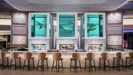 "The Palms Casino Resort in Vegas is undergoing a $620 million re-imagining of the property. The new casino center bar, Unknown, features Damien Hirst's iconic ""The Unknown (Explored, Explained, Exploded), an art piece of a 12-foot-long tiger shark divided into three sections suspended in formaldehyde."