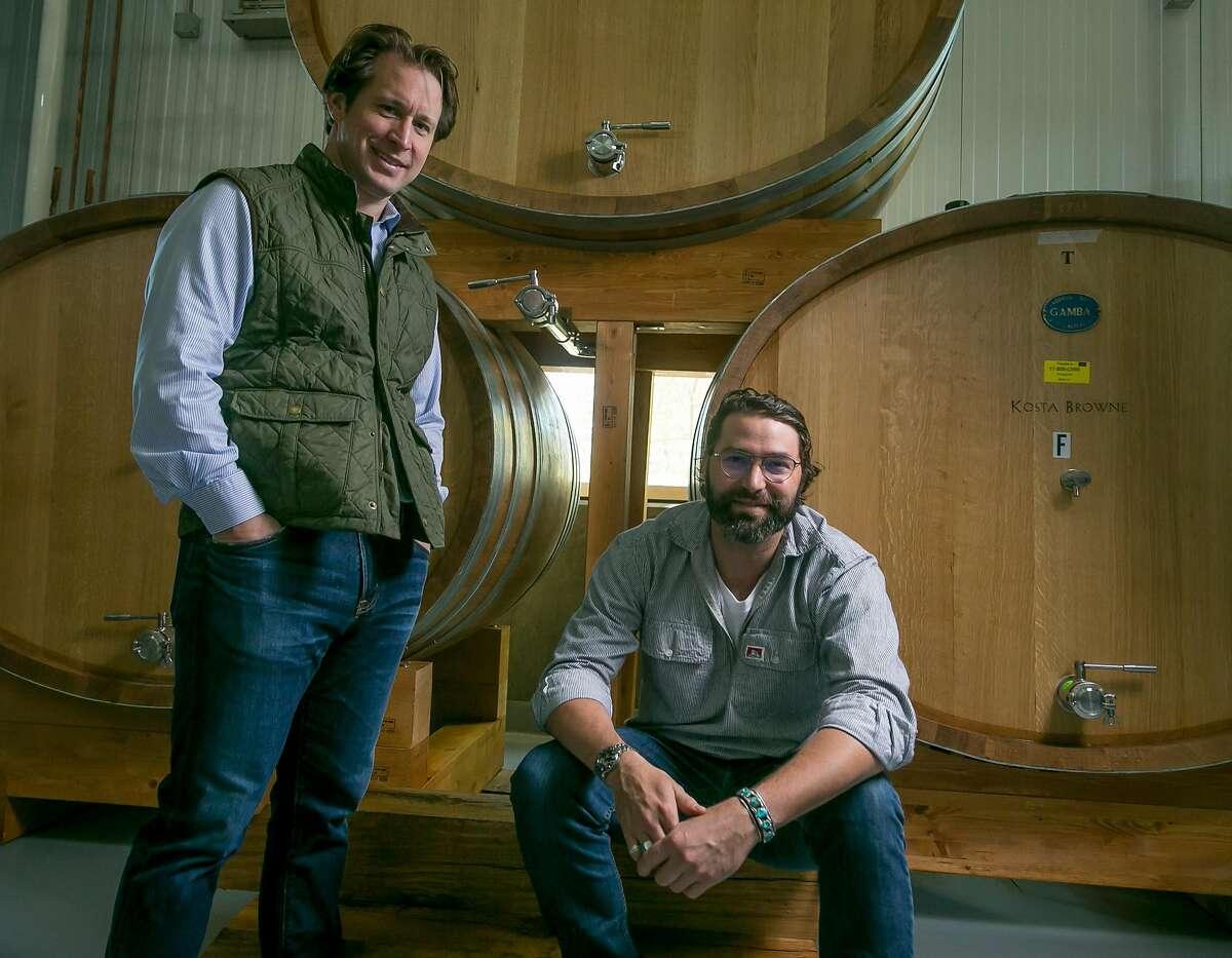 Scott Becker and winemaker Nico Cueva, (beard) of Kosta Browne Winery in Sebastopol, Calif., are seen on October 22nd, 2017.