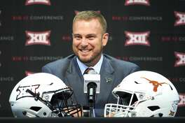 Texas football head coach Tom Herman speaks during NCAA college football Big 12 media days in Frisco, Texas, Tuesday, July 17, 2018. (AP Photo/Cooper Neill)
