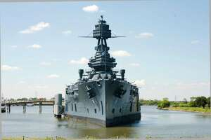 The Battleship Texas sits docked at the Battleship Texas State Historic Site in La Porte.