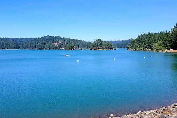 Jenkinson Lake at Sly Park Recreation Area provides camping, boating, fishing, and is full of water, located at an elevation of 3,500 feet near Pollock Pines on the flank of the Sierra Nevada