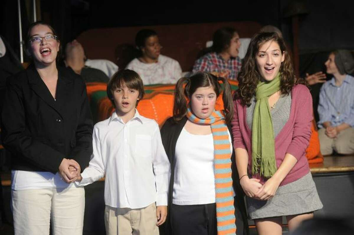 is Nicole Sigmund, Ryan Cassidy, Danielle Annunziata, and Nicole Sowin of The Off Beat Players, in their 2010 production of Willy Wonka, The Off Beat Players will again return to Roald Dahl for their source material when they present their new production of James and the Giant Peach. The company, which is for teens and young adults with and without disabilities, will put on its show from Aug. 2 to Aug. 4.