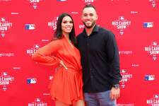 WASHINGTON, DC - JULY 17:  George Springer #4 of the Houston Astros and the American League attends the 89th MLB All-Star Game, presented by MasterCard red carpet with wife Charlise Castro at Nationals Park on July 17, 2018 in Washington, DC.  (Photo by Patrick Smith/Getty Images)
