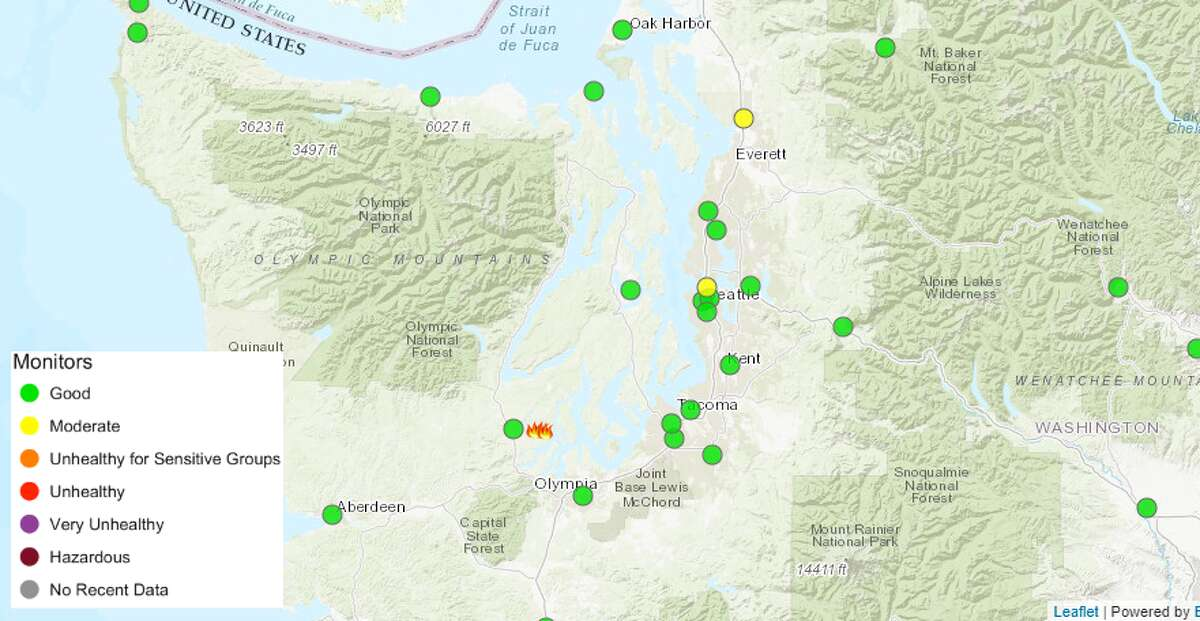 From the Washington Smoke Information site, on Tuesday July 17, 2018.