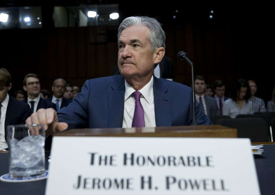 Federal Reserve Chairman Jerome Powell testifies before the Senate Banking Committee, telling members to expect gradual raising of a key interest rate. Photo: Jose Luis Magana / Associated Press