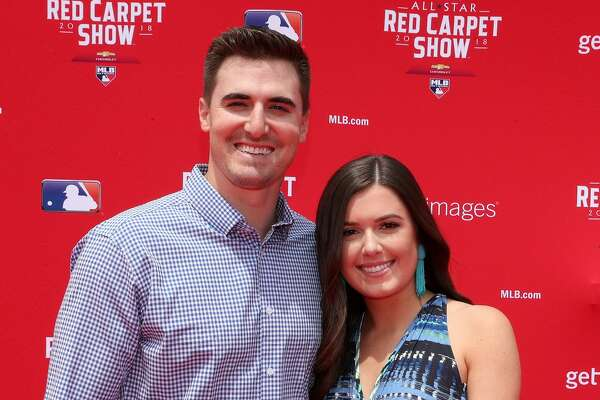 WASHINGTON, DC - JULY 17: Ross Stripling #68 of the Los Angeles Dodgers and the National League and guest attend the 89th MLB All-Star Game, presented by MasterCard red carpet at Nationals Park on July 17, 2018 in Washington, DC. (Photo by Patrick Smith/Getty Images)