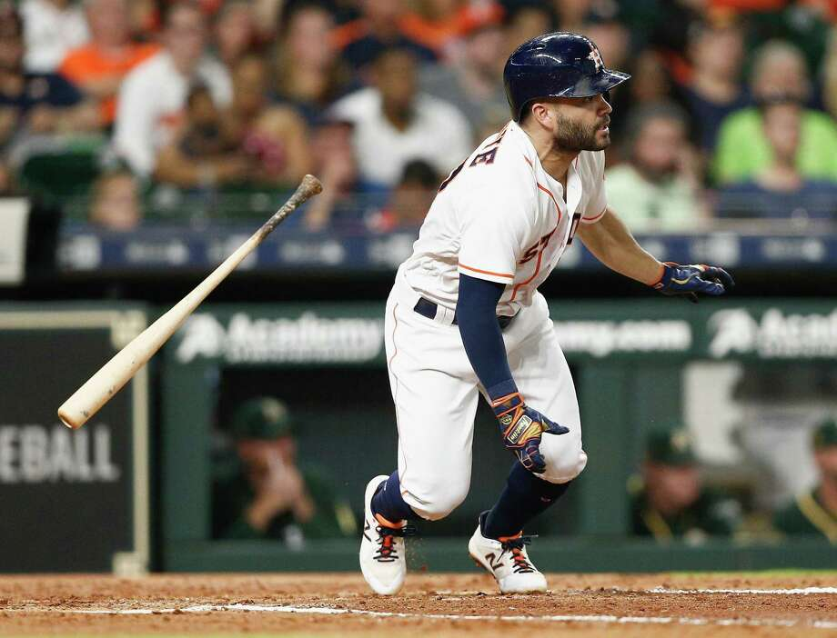 Jose Altuve singles in the fourth inning against the Oakland Athletics at Minute Maid Park on July 9, 2018 in Houston, Texas. Photo: Bob Levey, Stringer / Getty Images / 2018 Getty Images