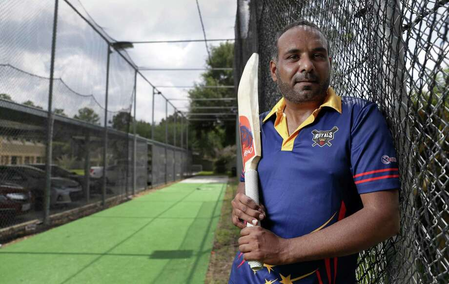 Tanweer Ahmed inside his cricket batting cage, where his and members of his cricket league team practice, next to the parking lot of his office June 22, 2018, in Houston, TX. (Michael Wyke / For the  Chronicle) Photo: Michael Wyke, Freelance / For The Chronicle / © 2018 Houston Chronicle