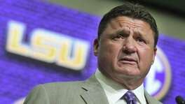 LSU head coach Ed Orgeron speaks during NCAA college football Southeastern Conference media days at the College Football Hall of Fame in Atlanta, Monday, July 16, 2018. (AP Photo/John Amis)