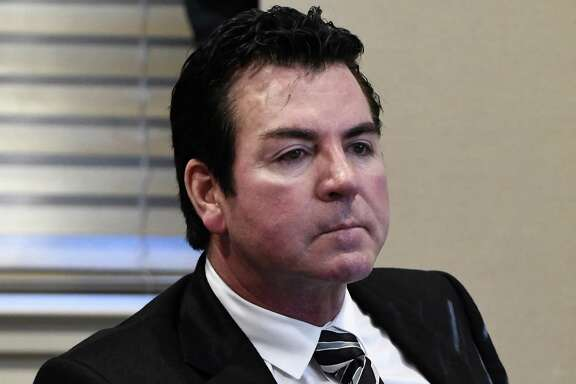 In this Wednesday, Oct. 18, 2017, photo, Papa John's founder and CEO John Schnatter attends a meeting in Louisville, Ky. Schnatter says the pizza chain doesn't know how to handle a crisis based on misinformation and that he made a mistake in agreeing to step down as chairman. Schnatter says the board asked him to step down as chairman without any investigation and he should not have complied, according to a letter his representative says was sent to the board Saturday, July 14, 2018. The contents of the letter were first reported by the Wall Street Journal.