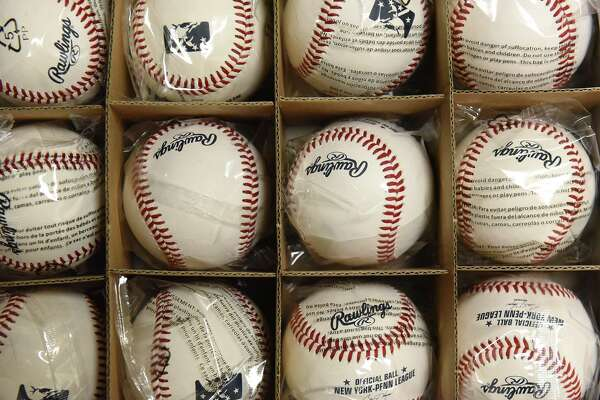 Baseballs are seen in the equipment room in the Tri-City ValleyCats' clubhouse at the Joe Bruno Stadium on Tuesday, July 17, 2018 in Troy, N.Y. (Lori Van Buren/Times Union)