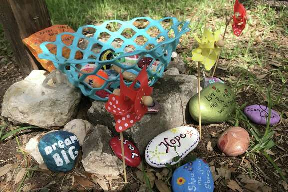 The rock-painting group San Antonio Rocks now has several rock gardens and rock exchange baskets around San Antonio, such as the one pictured outside St. Luke's Episcopal Church & School.