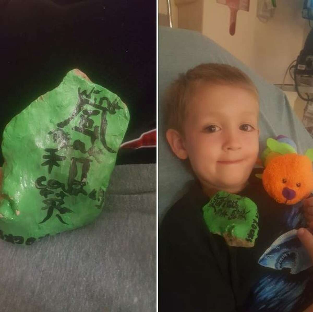 """The found rocks of San Antonio Rocks can come with their own colorful stories. For instance, Elizabeth Sterns' seven-year-old son Jackson holds a painted rock while in an emergency room. The rock featured Japanese symbols with English words that included """"courage,"""" which Jackson said he needed."""