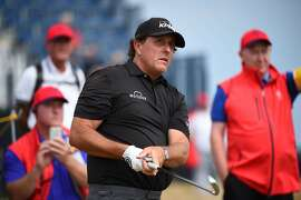 US golfer Phil Mickelson tees off on the 4th during a practice session   The 147th Open Championship at Carnoustie, Scotland on July 15, 2018. / AFP PHOTO / ANDY BUCHANANANDY BUCHANAN/AFP/Getty Images