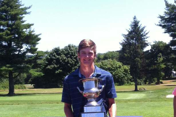 Connor Belcastro, a Brunswick School student and Rowayton resident, shown here after winning the 77th Connecticut Junior Amateur Championship on July 12, has advanced to the match play portion of the 101st Met Junior Championship.