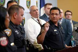 Harris County Sheriff Ed Gonzalez discusses the arrest and ongoing investigations into suspect Jose Gilberto Rodriguez at the Houston Police Department, Tuesday, July 17, 2018, in Houston.
