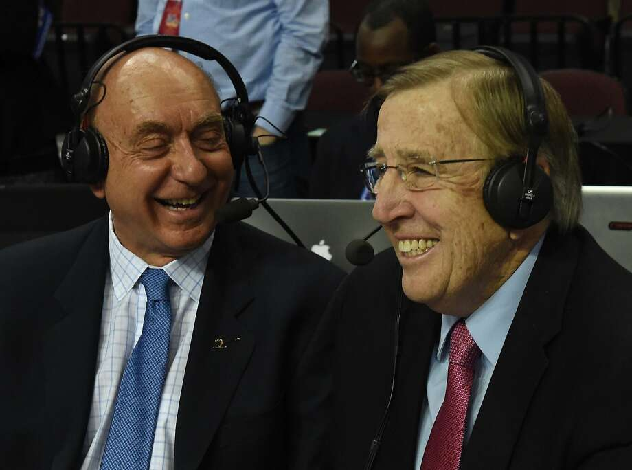 Brent Musburger, here with Dick Vitale, reportedly will take over radio broadcasts of the Raiders for three years, replacing Greg Papa. Photo: Ethan Miller / Getty Images 2016