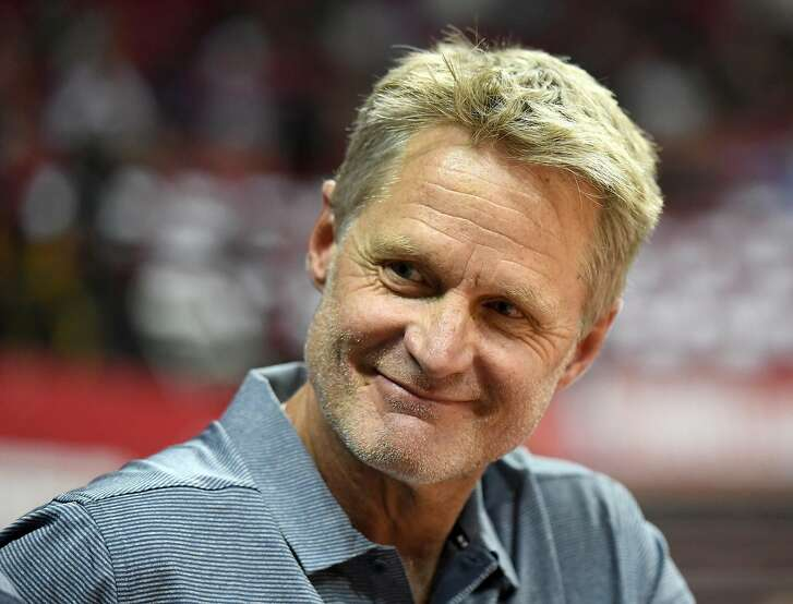 LAS VEGAS, NV - JULY 09:  Head coach Steve Kerr of the Golden State Warriors smiles before the team's 2018 NBA Summer League game against the Dallas Mavericks at the Thomas & Mack Center on July 9, 2018 in Las Vegas, Nevada. NOTE TO USER: User expressly acknowledges and agrees that, by downloading and or using this photograph, User is consenting to the terms and conditions of the Getty Images License Agreement.  (Photo by Ethan Miller/Getty Images)