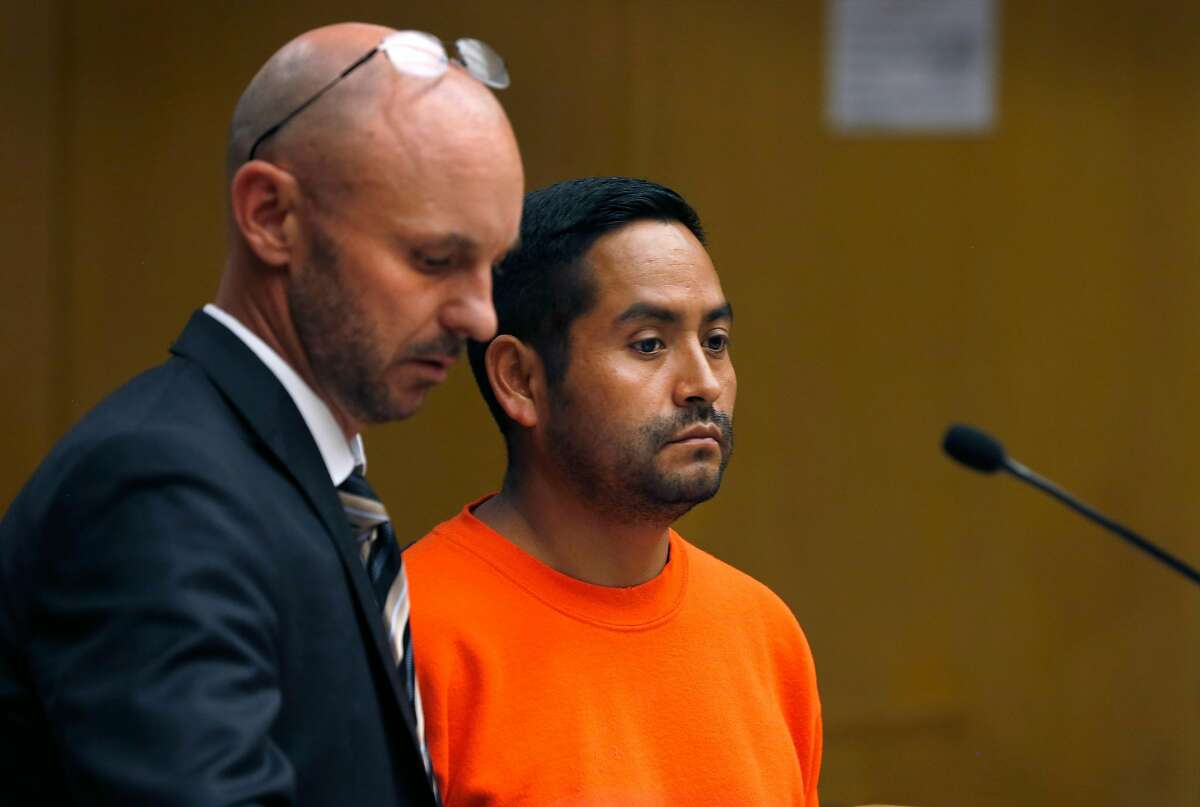Orlando Vilchez Lazo appears in Department 9 of Superior Court for a hearing at the Hall of Justice in San Francisco, Calif. on Tuesday, July 17, 2018. Lazo�s arraignment on multiple rape charges was postponed two days and bail was revoked.