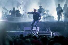Damon Albarn of the Gorillaz performs during the Outside Lands music festival at Golden Gate Park on Friday, Aug. 11, 2017, in San Francisco, Calif.