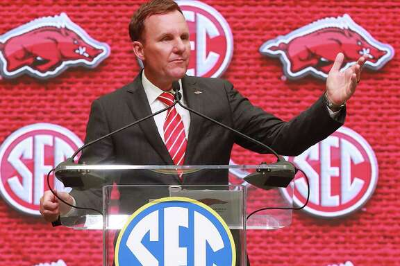 Arkansas head coach Chad Morris holds his SEC Media Days press conference at the College Football Hall of Fame on Tuesday, July 17, 2018, in Atlanta. (Curtis Compton/Atlanta Journal-Constitution/TNS)